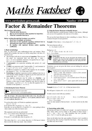 Asp 009 Factor & Remainder Theorems