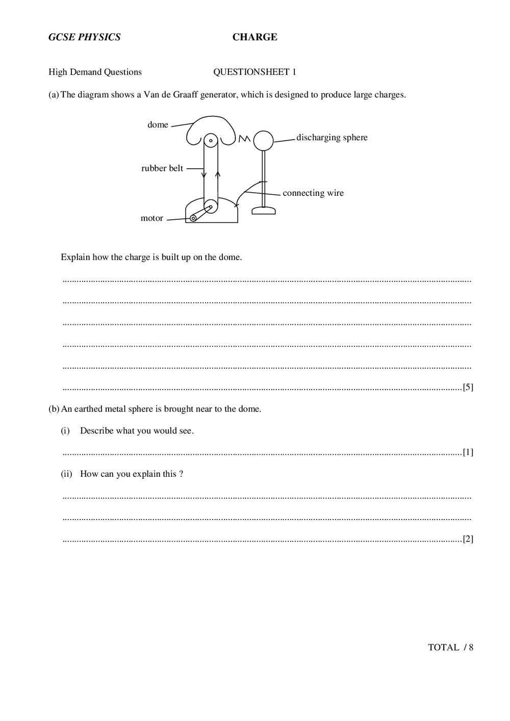 Gcse Physics Charge Questions
