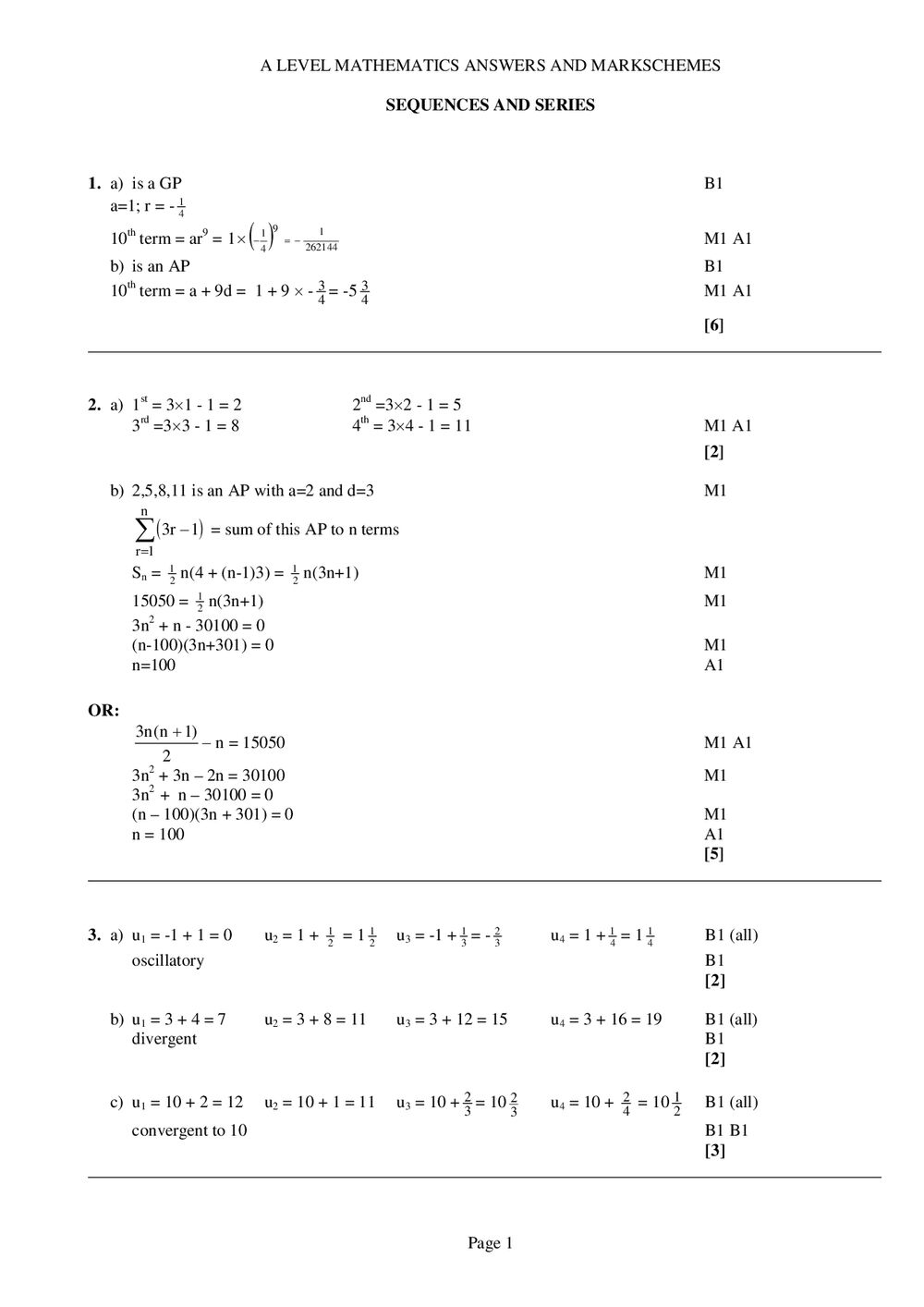 Sequences and Series Answers – A-Level Maths - Curriculum Press