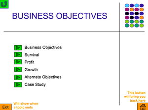 As  Business Objectives